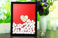 Drop box guest book Black frame White hearts Wedding Guest Book Wooden Heart GuestBook Wedding GuestBook wedding guestbook drop top