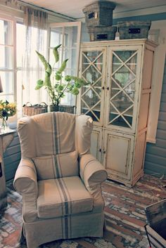 My Passion For Decor  I cant get enough of the french linen stripe