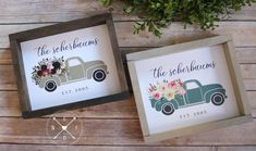 """PERSONALIZED Last Name FARM TRUCK Wood Sign 9.5""""x11.5"""" 