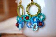 Blue Green Crochet Earrings Crimson Red Coral by LavenderField