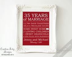 35th Anniversary Gift - Personalized Anniversary Gift for Parents - Gift - Printable - Parents' Anniversary - 35th Wedding - State Wall Art - $15.00
