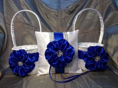 2 White Flower Girl Baskets and matching Ring Bearer Pillow with Royal Blue Satin Flower and Rhinestone Mesh handle and Trim Blue Silver Weddings, Blue Wedding, Blue And Silver, Wedding Colors, Snow Wedding, Nautical Wedding, Wedding Flowers, Royal Blue Flowers, Satin Flowers