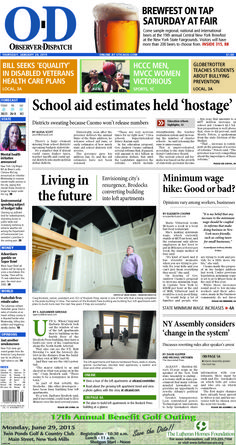 The front page for Thursday, Jan. 29, 2015: School aid estimates held 'hostage'