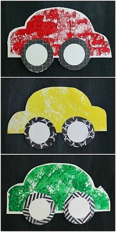 Sponge Painted Cars! (Paper Car Craft for Kids w/ FREE Car Template)~ Buggy and Buddy