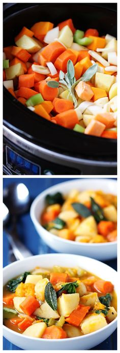 Slow Cooker Root Vegetable Stew -- simple, hearty, delicious | gimmesomeoven.com #slowcooker #crockpot