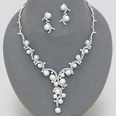 Wedding White Pearl Crystal Bridal Silver Necklace Set Chunky Elegant Jewelry