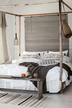 Coastal bedroom with simple boho chic influences
