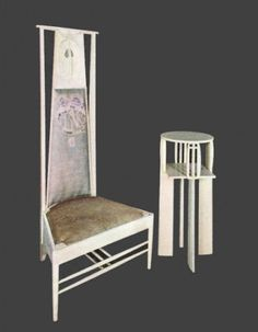ca 1903 Charles Rennie Mackintosh white table and chair for the Willow Tea Rooms. Art Nouveau Furniture, Hall Furniture, Furniture Styles, Furniture Design, Charles Rennie Mackintosh Designs, Charles Mackintosh, Mackintosh Furniture, Glasgow School Of Art, Art Nouveau Design