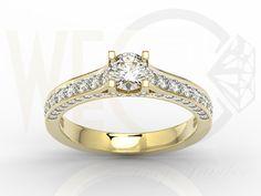 Pierścionek z żółtego złota z brylantami/ Ring made from yellow gold with diamonds/ 9 471 PLN  #jewellery #gold #ring #diamonds