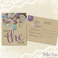 Save the Date Postcard - Vintage Mason Jar Save the Date Card - Purple and Blue Save the Date - Rustic Barn Wedding - 4002 PRINTABLE by WillowLaneStationery on Etsy https://www.etsy.com/listing/187735404/save-the-date-postcard-vintage-mason-jar