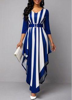 Asymmetric Hem Striped Belted V Neck Maxi Dress | Rotita.com - USD $33.96 Stylish Dress Designs, Designs For Dresses, Stylish Dresses, Elegant Dresses, Casual Dresses, Best Maxi Dresses, Long African Dresses, Latest African Fashion Dresses, Women's Fashion Dresses