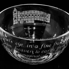 Bowl with Globe Theatre and quote by Philip Lawson Johnston glass engraver Engraving Tools, Glass Engraving, Cool Words, Globe, Speech Balloon