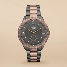 Sydney Stainless Steel Watch - Smoke and Rose by Fossil.