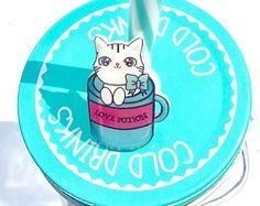 Spilla Pin Gatto Love Potion Pozione d'amore rosa azzurro tazza