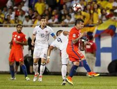 Colombia 0 Chile 2 in 2016 in Chicago. Roger Martinez and Gary Medel vie for the ball in the Semi Final at Copa America.
