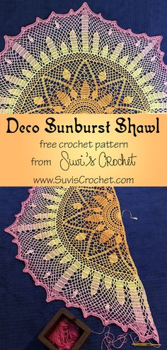 Shawl Free crochet pattern with both written and charted instructions. A deco-style sunburst shawl pattern inspired by a stained glass window. This free crochet shawl pattern is delightfully lacy with a beautiful drape that floats around your shoulders. One Skein Crochet, Crochet Shawl Free, Crochet Gratis, Crochet Shawls And Wraps, Crochet Jacket, Crochet Scarves, Crochet Clothes, Crochet Stitches, Easy Crochet