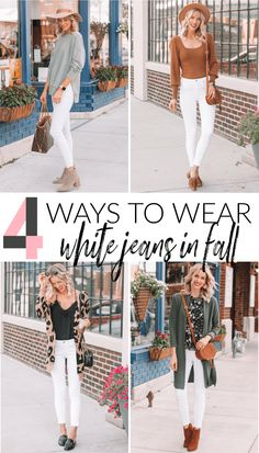 4 Ways to Wear White Jeans this Fall - Straight A Style - 4 Ways to Wear White . - 4 Ways to Wear White Jeans this Fall – Straight A Style – 4 Ways to Wear White Jeans this Fall - Best White Jeans, How To Wear White Jeans, White Pants, White Skinnies, White Leggings, Outfit Jeans, Jeans Pants, Fall Winter Outfits, Autumn Winter Fashion