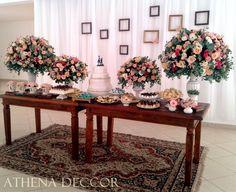 Decoração mesa de bolo e doces! Estilo vintage / rústico / geek