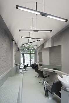 Barber Shop Interior, Barber Shop Decor, Hair Salon Interior, Salon Interior Design, Nail Salon Design, Small Salon Designs, Haircut Salon, Home Hair Salons, Barbershop Design