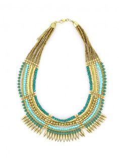 Collier multi rangs en perles bleu ciel et dorées Bleu Akadian Couleur ethnique
