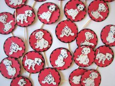 """101 dalmation Cupcake toppers. WWW.celebratewithpam.WordPress.com. """"Crafting with PEP"""" on fb"""