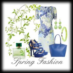 """Spring Fashion in Blues"" by chicmaven-841 ❤ liked on Polyvore"