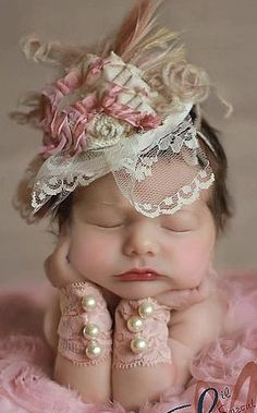 Dusty Rose, Ivory and Tan Fascinator Hat Photo Prop with Singed Satin Flower, Burlap Rolled Rosette, Lace Veil, Peacock & Ostrich Feathers Newborn Pictures, Baby Pictures, Baby Photos, Cute Pictures, Newborn Pics, Fascinator Hats, Fascinators, Baby Kind, Baby Love
