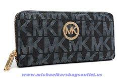 Michael Kors Leather Logo Wallet Black Outlet Sale