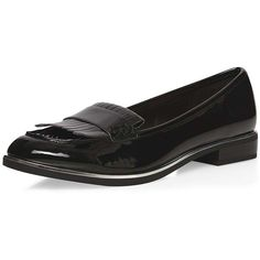 Dorothy Perkins Black 'Lively' loafers ($44) ❤ liked on Polyvore featuring shoes, loafers, black, patent leather shoes, chunky shoes, chunky black shoes, fringe shoes and black patent leather loafers