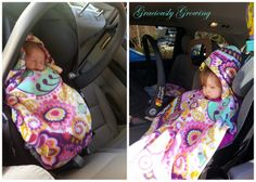 Reversible Carseat Poncho / Blanket Tutorial (uses 1/2 yard of fleece for front, 1/2 yard of fleece for reverse)