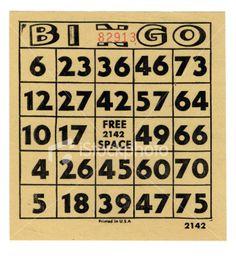vintage bingo card Game Cards, Card Games, Bingo Games, Vintage Ephemera, Card Making, Printables, Casual, Print Templates, Handmade Cards