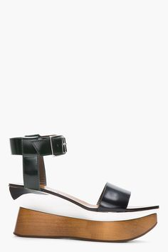 From Taking Cues from Resort 2014: Wooden Accessories  Marni black leather mirror & wood sculpted platform sandals, $1,075