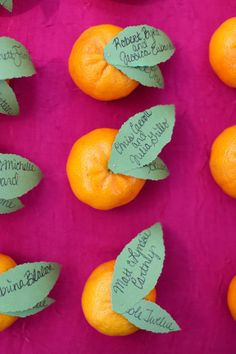 DIY escort card idea ~ use fruit! Cute clementines and hand written guests names and table numbers. from Amanda & Sonny's vintage garden wedding in Maryland. Images via Megan Beth Photography.