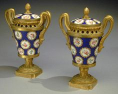 Consuelo Vanderbilt | Pair of Gilt-Bronze Mounted Sevres Porcelain Covered Brule Parfums   18th Century from the estate of Lady Sarah Spencer-Churchill and previously from the collection of Mme and Col. Jacques Balsan, Hotel de Marlborough, 9, Avenue Charles-Floquet, Paris, sold for $ 25,300 at Doyle's New York Auction, 15 May 2001. Sale 0105151 - Lot 87.