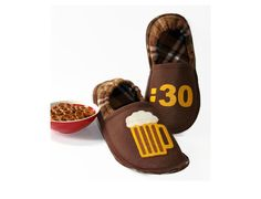 b3403f0bada Men Slippers Beer 30 Funny Gift for Him Guys House by CozySlippers
