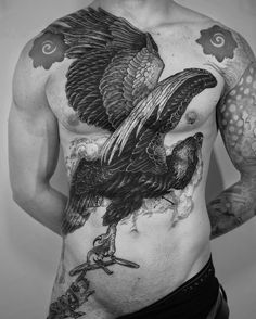 bw eagle tattoo idea on chest