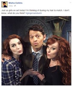 Ruth Connell (Rowena), Felicia Day (Charlie) and Misha Collins (Castiel).these are a few of my favorite things on Supernatural Misha Collins, Jensen Ackles, Familia Winchester, Winchester Boys, Winchester Brothers, Supernatural Pictures, Supernatural Tv Show, Supernatural Charlie, Supernatural Rowena