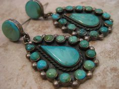 19g Chunky Vintage Old Pawn Zuni Navajo Cluster Turquoise Sterling Earrings | eBay