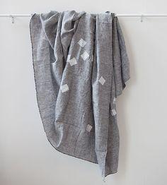 Caroline Z Hurley Throw | Grey with White Squares