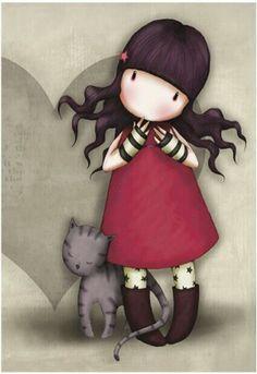 Girl & Cat, Gorjuss, Suzanne Woolcott
