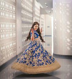 50 Twirling brides in colourful lehenga exuding happiness out loud – WedAbout Royal Blue Lehenga, Orange Lehenga, Pink Lehenga, Lengha Choli, Saree, Dress Indian Style, Indian Outfits, Indian Wear, Wedding Wear