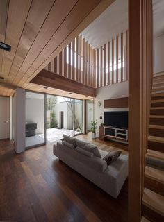 Stylish Wooden Ceilings Home Design Interior With Modern Living Room Used Minimalist Sofa Furniture Design Ideas For Inspiration Home Interior Design, Interior Architecture, Interior And Exterior, Online Architecture, Minimalist Sofa, Minimalist Scandinavian, Minimalist House, Scandinavian Living, Wood House Design