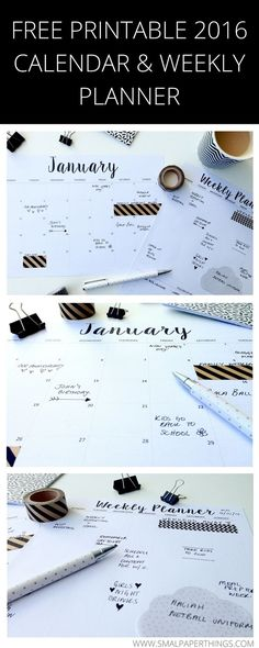 FREE Printable 2016 Calendar. Minimalist/Monochrome style calendar and weekly planner printable. So simple and low on ink usage!