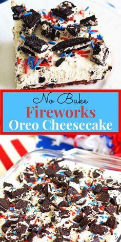 No Bake Fireworks Oreo Cheesecake Bars add a little spark to lusciously creamy O., Desserts, No Bake Fireworks Oreo Cheesecake Bars add a little spark to lusciously creamy Oreo Cheesecake Bars. Made with Fireworks Oreos that include a surprise. 4th Of July Desserts, Fourth Of July Food, Köstliche Desserts, Holiday Desserts, Holiday Recipes, Patriotic Desserts, 4th Of July Party, Fourth Of July Recipes, 4th July Cupcakes