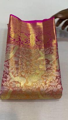 Pattu Sarees Wedding, Wedding Saree Blouse Designs, Half Saree Designs, Silk Saree Blouse Designs, Kanchipuram Saree Wedding, South Indian Wedding Saree, Indian Bridal Sarees, Wedding Silk Saree, Desi Wedding