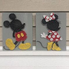 Know a Disney fan that loves both Mickey & Minnie Mouse? This listing is for two string art signs. One sign is of Mickey Mouse and one of Minnie Mouse. Save by buying both together! Disney Diy, Art Disney, Disney String Art, String Art Diy, String Art Templates, String Art Patterns, Mickey Minnie Mouse, Disney Mickey, Art Wall Kids