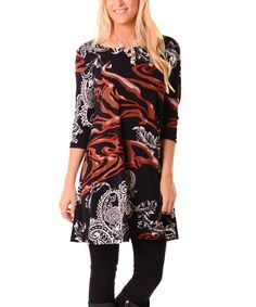 Black & Red Abstract Paisley Dress
