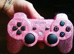 PS3 pink glitter controller <3