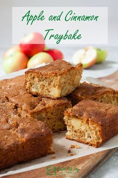 Moist and packed full of flavour this apple and cinnamon traybake was made for sharing. Perfect for having with a cup of tea, packing into a lunch box, sending to a school cake sale or simply sharing with family and friends. Tray Bake Recipes, Apple Cake Recipes, Chocolate Recipes, Baking Recipes, Dessert Recipes, Desserts, Apple Cakes, Apple Traybake, Traybake Cake