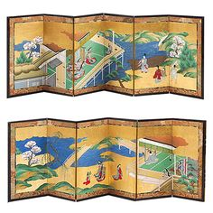 """18th Century Pair of Japanese Screens, """"Genji Tale"""" 